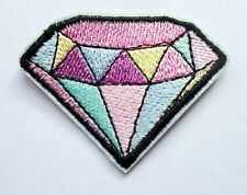 White Silver Diamond Sew on Embroidered Patch Badge Motif  For Clothing