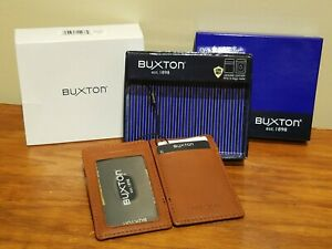 Buxton Secure Shield Brown Leather Minimalist Front Pocket RFID ID Magic Wallet