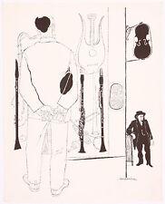 David Stone Martin Jazz Musical Instrument Lithograph Print Clarinet