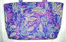 Vera Bradley Purple Floral Extra Large Zipper Close Travel Tote Bag