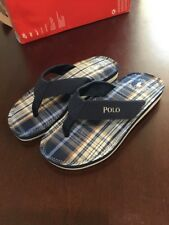 Polo Ralph Lauren Terry Boys Flip Flops Sandals Shoes Blue New Size 5 Youth