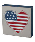 Primitives by Kathy Patriotic Heart 4th of July Block Sign