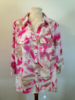 JM COLLECTION Woman Pink White Beige 100% Linen 3/4 Sleeve Top Shirt Size 16W