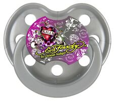 Ed Hardy Pacifier by Christian Audigier Silver Live Love Life Pacifier Dummy