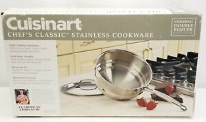 Cuisinart Chefs Classic Stainless Steel Universal Double Boiler With Lid New