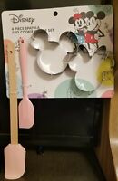 Disney Mickey & Minnie Mouse 4 Piece Spatula And Cookie Cutter Set
