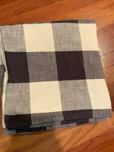 Pottery Barn Bryce Buffalo Check Full Queen Duvet Cover Charcoal NEW