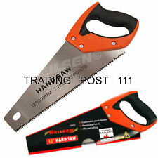 "Neilsen Hand Saw 12"" 300mm Steel Polished Blade Rubber Grip Handle Wood  18A"