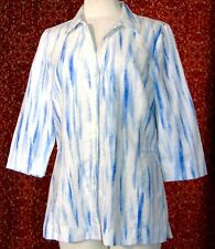 AMBER SUN blue artsy linen blend 3/4 sleeve button blouse L (T41-02H6G)