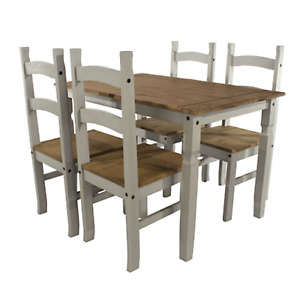 Grey Solid Pine Dining Set Table & 4 Chairs