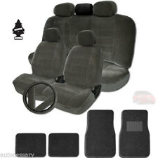 NEW GREY VELOUR FABRIC CAR TRUCK SUV SEAT COVERS MATS +GIFT SET