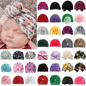 Kids Baby Girls Infant Beanie Hat Bow Knot Turban Cap Newborn Head Wear Headband