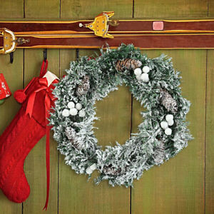 Frosted Spruce Pinecones Wreath Hanging Snowy Garland Wedding Xmas Party Deco UK