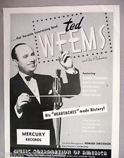 Ted Weems & His Orchestra PRINT AD - 1947-1948