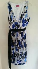 TOGETHER MULTI BLUE SATIN CROSSOVER DRESS SZE 10, 12  RRP £65 CLEARANCE