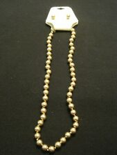 Monet Gold tone Beaded Necklace with Matching Earrings ~ New on Card