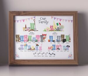PERSONALISED FAMILY TREE WELLIES PRINT - BUILD YOUR OWN FAMILY CHRISTMAS GIFT