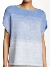 Vince Womens Blue Knitted Ombre Cocoon Poncho Batwing Sweater M Xmas