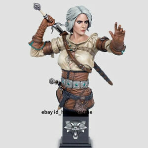 Unpainted White-haired Swordswoman Figure Model Garage Kits GK Unassembled 130mm