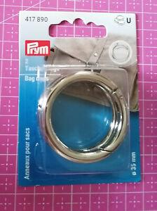 2 Taschenringe silberfarben 35 mm Prym 417890 Taschen Rucksack Karabineröffnung