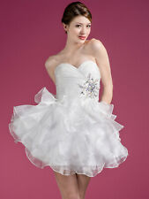 Women's white SHORT Embroidery Rhinestones homecoming Party prom dress