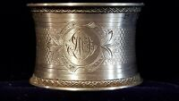 Antique French Sterling silver  napkin ring MINERVA 29 g MONOGRAM MD DM