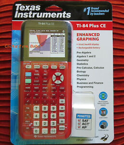 RED Texas Instrmnts Ti-84 Plus CE LATEST Graphic Calculator Silver Edition Cmpbl