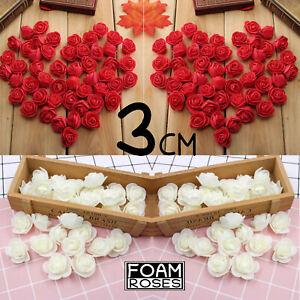 25/100 Foam 3cm Roses Wedding Craft Flower Party Decoration Favor UK SELLER