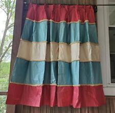 "3pr Vtg Chintz Pleated Cafe Curtains Drapes 6 panels custom Pink Blue Stripe 46"""