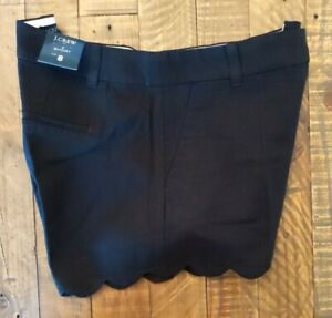 "NWT Sz 8 J. Crew Womens 4"" Inseam Linen Blend Cotton Scalloped Hem Shorts Black"