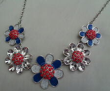 RED WHITE AND BLUE DESIGN FLOWER NECKLACE W/ SILVER METAL