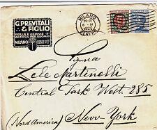 """BUSTA PUBBLICITARIA """"G.PREVITALI&FIGLIO""""-Michetti+Floreale Milano->New York 1926"""