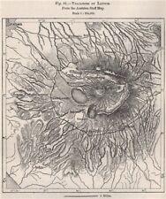 Vulcani del Lazio. dal personale AUSTRIACO MAPPA. ITALIA 1885 vecchio antico