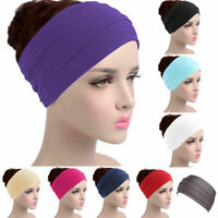 Women's Stretch Elastic Solid Wide Hairband Yoga Headband Turban Sport Head Wrap