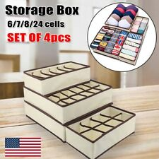 4PCS Drawer Storage Organizer Underwear Sock Bra Closet Divider Foldable Set