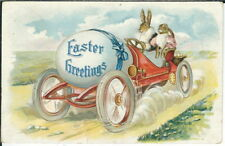 BB-102 Rabbits in Car, Easter Greetings, 1907-1915 Golden Age Postcard Vintage