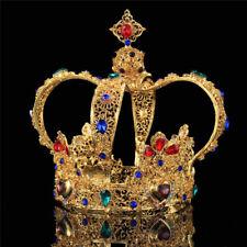5.5'' Prom Gold King Queen Royal Colorful Crystal Tiara Headband Diadem Crown