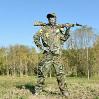 Tactical Camouflage Hunting Ghillie Suit T-shirt Pants Cap for Spring Autumn