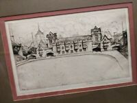 ERNEST DAVID ROTH SIGNED ART American 1879-1964 ETCHING ENGRAVING FRAMED ANTIQUE