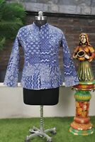 Women Quilted Jacket Indigo Blue Handmade Cotton Reversible Patch Blazer Coat