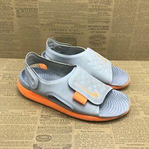 Nike Boys Sunray Adjust 5 AJ9076-003 Gray Orange Sandal Slip On Size 1 Y