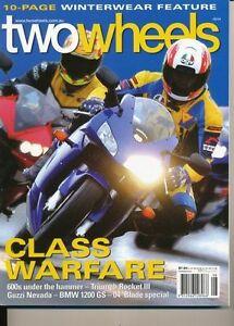 Two Wheels Magazine Aug 2004 Rocket III CRF250X Nevada 750 FSE450 SM570R SMC625