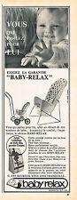 PUBLICITE ADVERTISING 035  1964  BABY-RELAX   siège poussette bébé