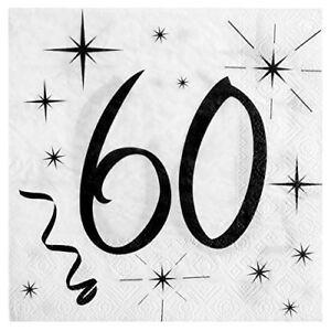 60. Geburtstag Servietten schwarz weiß Tischdeko Dekoration passende Tischbänder