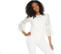 Isaac Mizrahi Live! Floral Lace 3/4 Bell Sleeve Tunic Color Cream Size Small