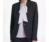 DKNY Womens Collarless Single Button Windowpane-Print Blazer Jacket Size 6 Black