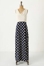 Anthropologie Great Dot Maxi Dress Long Navy Blue Summer Moulinette Soeurs Sz 2