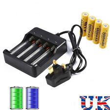 4 18650 Batteries 6800mAh 3.7V Li-ion Rechargeable Battery w/4 Slots Charger