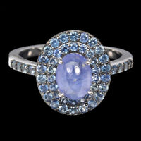 Unheated Oval Tanzanite Blue Sapphire Diamond Cut 925 Sterling Silver Ring