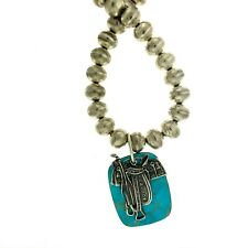 Southwestern Sterling Silver Dan Dodson Saddle Pendant on Oversized Jumbo Beads